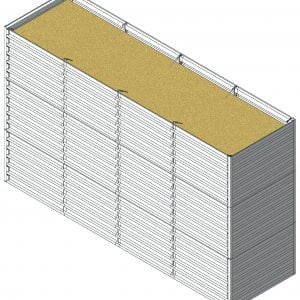 Defense Wall, a Security Product by Mifram: ~5 m. Length x ~1.44 m. Width x ~3 m. Height