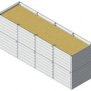Defense Wall, a Security Product by Mifram: ~5 m. Length x ~1.44 m. Width x ~2 m. Height