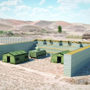 Defense Wall, a Security Product by Mifram: Universal fighting and protective post in the field can be assembled or dismantled in a matter of hours