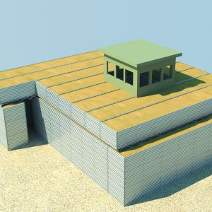 Defense Wall, a Security Product by Mifram: Construction of a spiral shaped protected area. All construction uses protective wall elements including the entrance, roof, observation and guard posts.