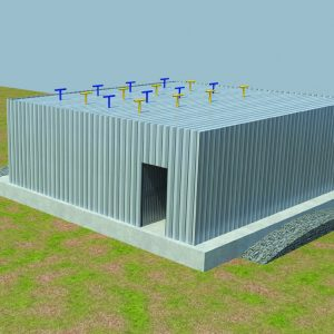 Hammer, a Security Product by Mifram: Larger hanger version designed for short term stay for up to 1000 soldiers with equipment. Includes barracks and sanitation facilities