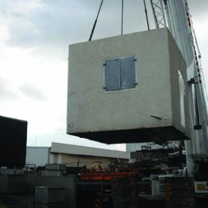 HBS, a Security Product by Mifram: No weight is too heavy or too high – using a crane to lift a fortified room weighing tens of tons into place
