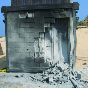 IMPS, a Security Product by Mifram: Direct missile hit test on Room Fortification System. Result: total success. The wall was completely destroyed but the RFS remained unharmed