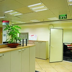 IMPS, a Security Product by Mifram: Room Fortification System in conference room in Bank HaPoalim offices, From the inside, appears to be a