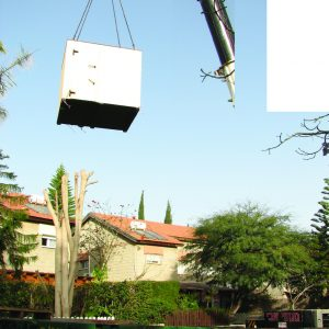 MBS, a Security Product by Mifram: No location too remote crane lifting an MBS into a back yard
