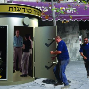 MBS, a Security Product by Mifram: Round shelter doubles as an advertising pillar – advertising supporting protection