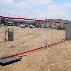 MFS, a Security Product by Mifram: Two-section modular fence setup between available pillar and structure