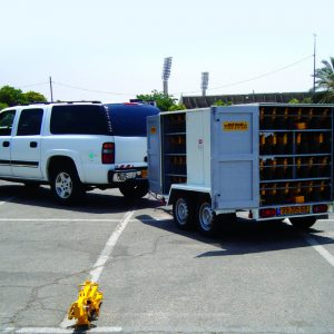 MVB, a Security Product by Mifram: Transportation and deployment in a towed trailer