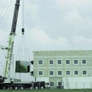 OBS, a Security Product by Mifram: Installation of a 100 ton (!) shelter using a crane at the Amdocs plant