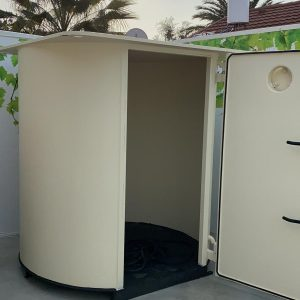 Round shelter in a sales office