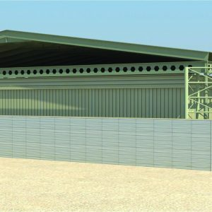 Sky Guard, a Security Product by Mifram: Sky guard above existing buildings surrounded by portable defense walls