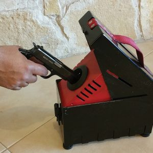 Bullet Trap, a Security Product by Mifram: Box unloading unit in action – also for short barreled weapons