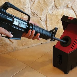Bullet Trap, a Security Product by Mifram: Box unloading unit in action – also for long barreled weapons