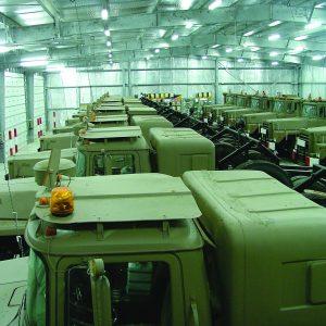 Dry Storage, a Security Product by Mifram: Military trucks storage