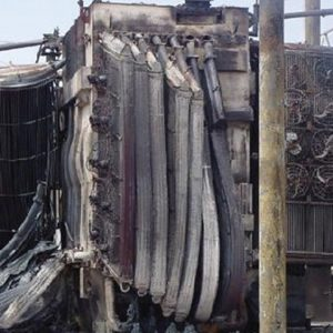 DuraSystem, a security product by Mifram: An electrical transformer that wasn't protected with MFM panels completely destroyed by fire.