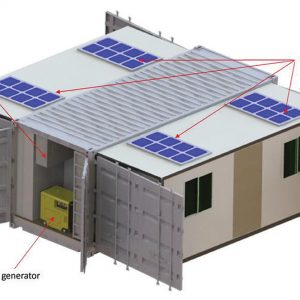 The container - open: Solar panels, External air conditioning unit, Diesel generator