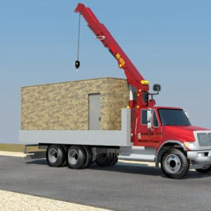 Fortified Front Line Posts, a Security Product by Mifram: Crane truck delivers containers and armored plating to the staging area