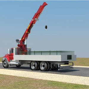 Front Line Logistics & HR Center, a Security Product by Mifram: Crane truck brings the steel protective walls to the deployment site