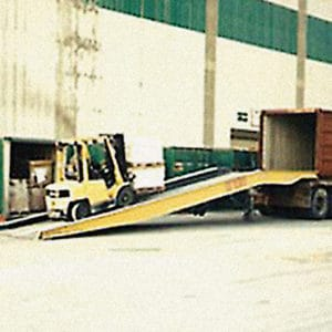 Mobile Ramp, a Security Product by Mifram: A fork lift truck can easily access the container