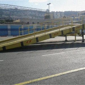 Mobile Ramp, a Security Product by Mifram: Special wide ramp for loading/unloading ships at Haifa Port